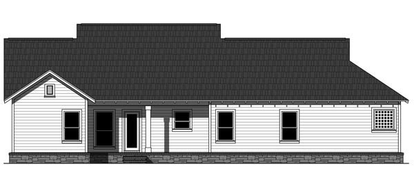 Cottage, Country, Craftsman House Plan 59968 with 3 Beds, 2 Baths, 2 Car Garage Rear Elevation