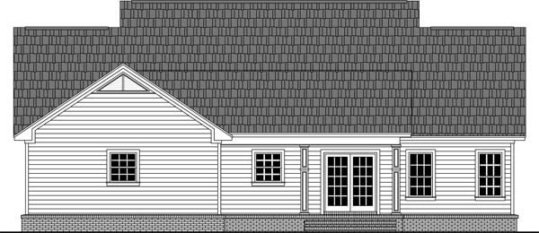 Cottage, Country, Traditional House Plan 59969 with 3 Beds, 2 Baths, 2 Car Garage Rear Elevation