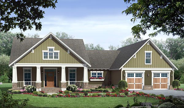 Cottage , Country , Craftsman House Plan 59970 with 3 Beds, 2 Baths, 2 Car Garage Elevation