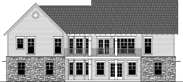 Cottage, Country, Craftsman House Plan 59970 with 3 Beds, 2 Baths, 2 Car Garage Rear Elevation