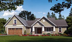 Cottage Country Craftsman House Plan 59974 Elevation