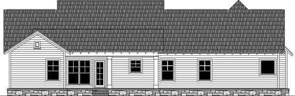 Craftsman , Country , Cottage House Plan 59974 with 3 Beds, 3 Baths, 2 Car Garage Rear Elevation