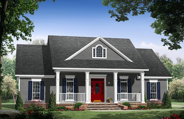 Country , Farmhouse , Traditional House Plan 59976 with 3 Beds, 2 Baths, 2 Car Garage Elevation