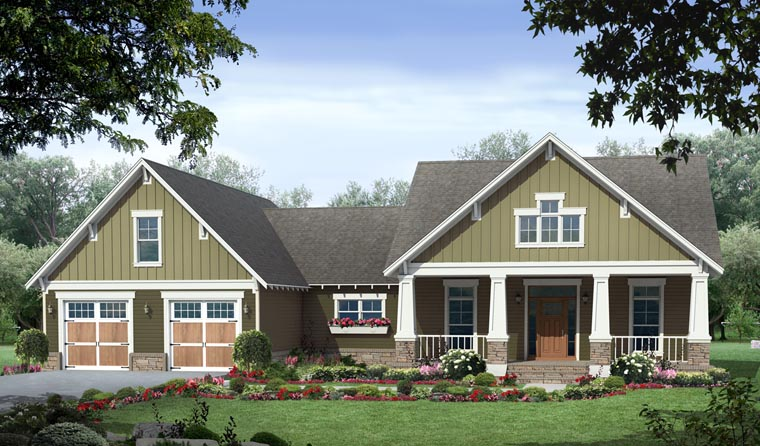 Country, Craftsman, Traditional House Plan 59979 with 3 Beds, 2 Baths, 2 Car Garage Elevation