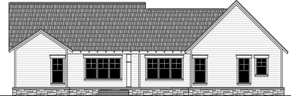 Country , Craftsman , Traditional , Rear Elevation of Plan 59979