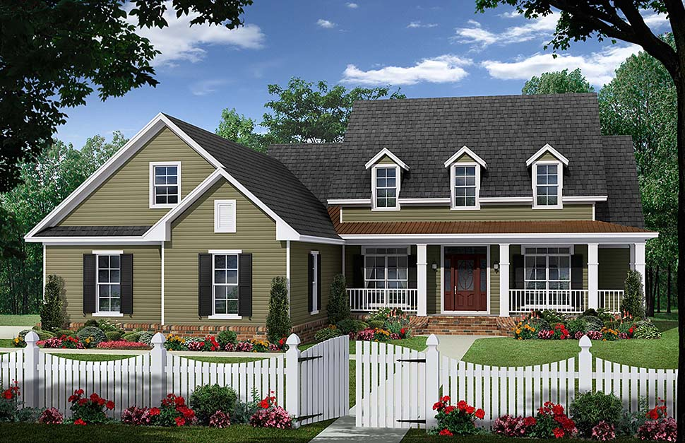 House Plan 59983 | Country Farmhouse Traditional Style Plan with 2164 Sq Ft, 3 Bedrooms, 3 Bathrooms, 2 Car Garage Elevation
