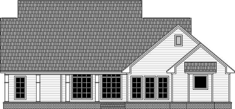 House Plan 59983 | Country Farmhouse Traditional Style Plan with 2164 Sq Ft, 3 Bedrooms, 3 Bathrooms, 2 Car Garage Rear Elevation