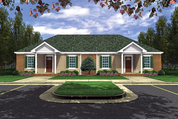 European Traditional Multi-Family Plan 59986 Elevation