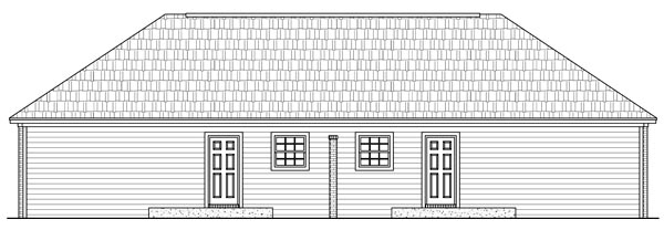 European Traditional Multi-Family Plan 59986 Rear Elevation