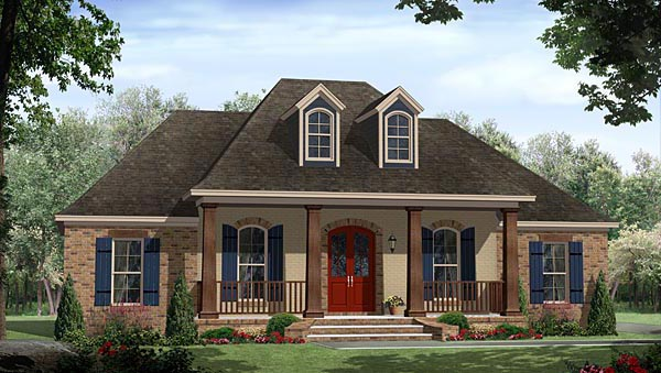 French Country , European House Plan 59987 with 3 Beds, 2 Baths, 2 Car Garage Elevation