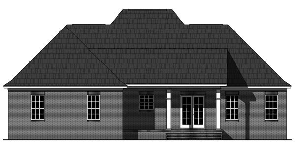 French Country , European House Plan 59987 with 3 Beds, 2 Baths, 2 Car Garage Rear Elevation