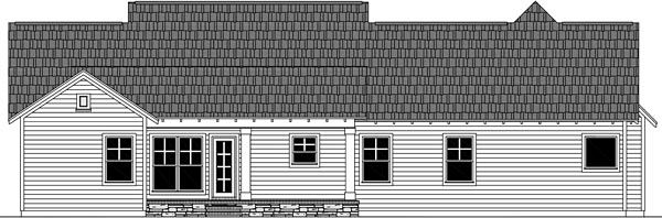 Cottage Craftsman Traditional House Plan 59989 Rear Elevation