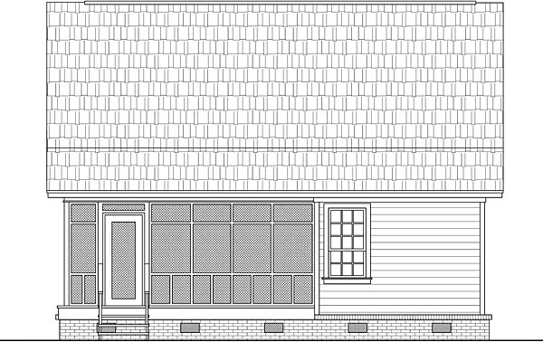 Cabin Country Ranch Rear Elevation of Plan 59993