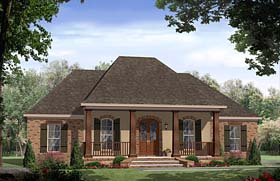 Cottage , Country , European , French Country , Ranch , Southern House Plan 59994 with 3 Beds, 3 Baths Elevation