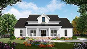 Country Farmhouse Ranch Southern House Plan 59998 Elevation