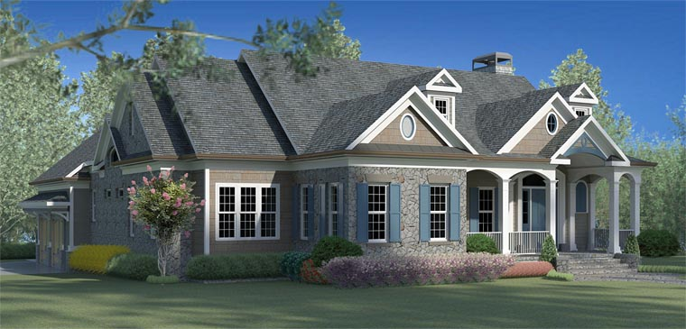 Cottage, Country, Craftsman House Plan 60000 with 3 Beds, 4 Baths, 2 Car Garage Elevation