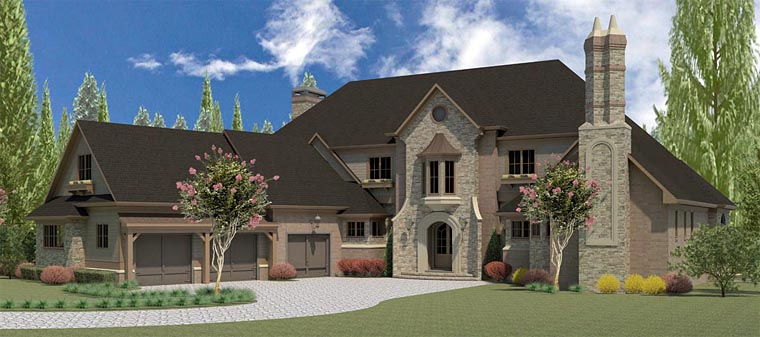 European , Tudor House Plan 60003 with 5 Beds, 8 Baths, 4 Car Garage Elevation