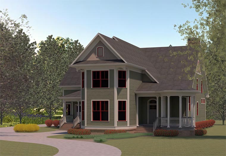 Country , Traditional House Plan 60004 with 3 Beds, 4 Baths, 3 Car Garage Elevation