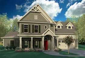 Bungalow Cabin Cottage Craftsman Traditional House Plan 60005 Elevation