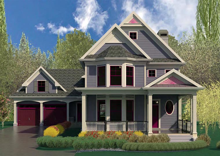 Country Craftsman Southern Victorian Elevation of Plan 60007