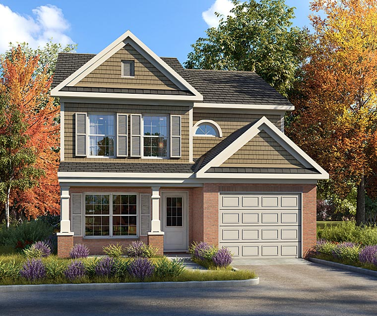 Craftsman, Traditional House Plan 60009 with 4 Beds, 3 Baths, 1 Car Garage Front Elevation