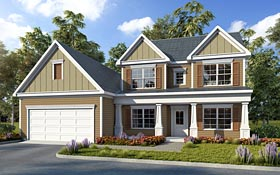 House Plan 60012 | Colonial, Craftsman, Traditional Style House Plan with 1949 Sq Ft, 4 Bed, 3 Bath, 2 Car Garage Elevation