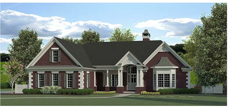 Traditional , Southern , Colonial House Plan 60020 with 4 Beds, 3 Baths, 2 Car Garage Elevation