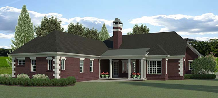 Traditional , Southern , Colonial House Plan 60020 with 4 Beds, 3 Baths, 2 Car Garage Rear Elevation