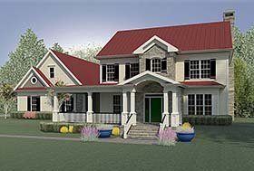 House Plan 60022 | Country Farmhouse Southern Traditional Style Plan with 2803 Sq Ft, 3 Bedrooms, 4 Bathrooms, 3 Car Garage Elevation