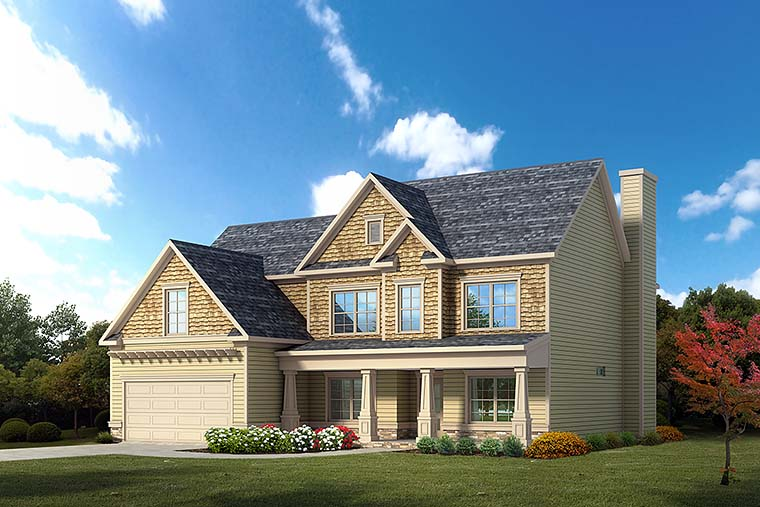 Country, Craftsman, Traditional House Plan 60025 with 4 Beds, 3 Baths, 2 Car Garage Elevation
