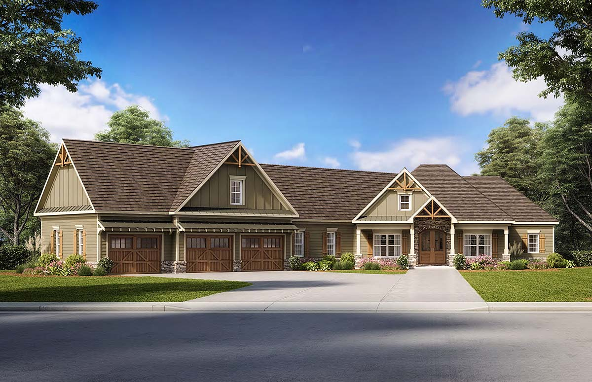 House Plan 60028 | Cottage, Country, Craftsman, Traditional Style House Plan with 3204 Sq Ft, 4 Bed, 4 Bath, 3 Car Garage Elevation