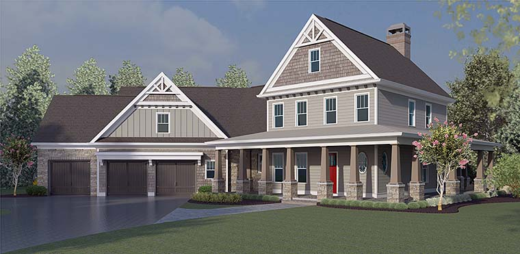 Country , Craftsman , Farmhouse , Southern , Elevation of Plan 60029