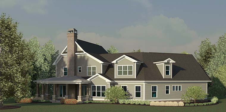 Country , Craftsman , Farmhouse , Southern , Rear Elevation of Plan 60029