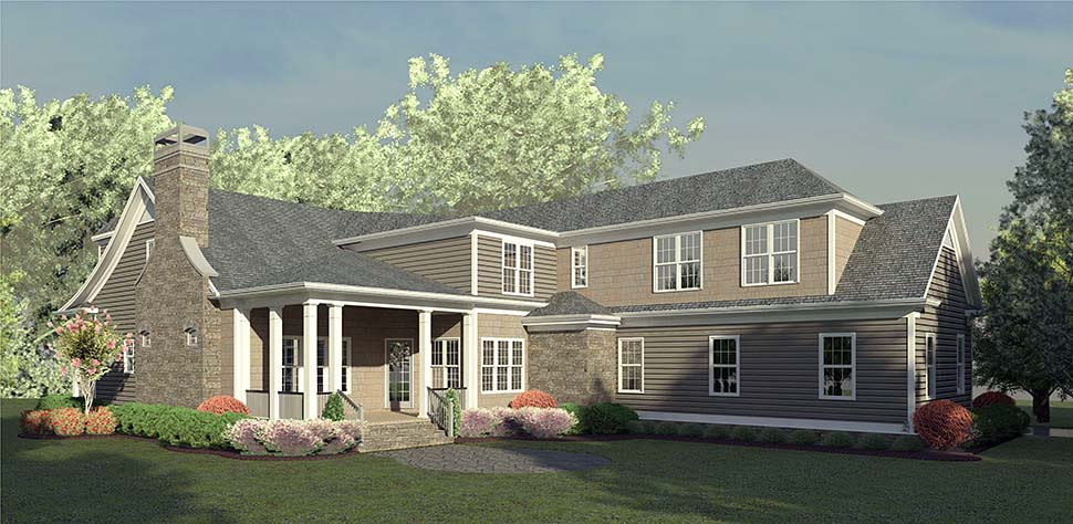 Traditional , Country House Plan 60035 with 4 Beds, 5 Baths, 2 Car Garage Rear Elevation