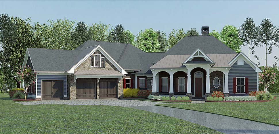 Craftsman Traditional Elevation of Plan 60036