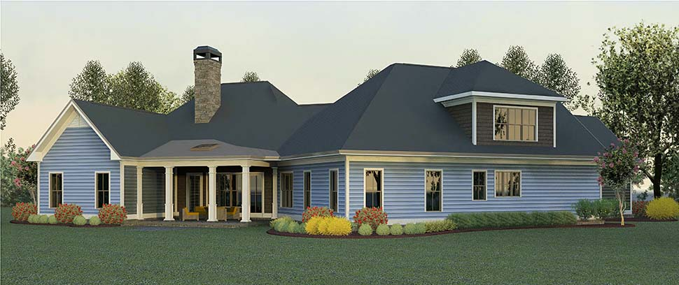 Craftsman Traditional Rear Elevation of Plan 60036