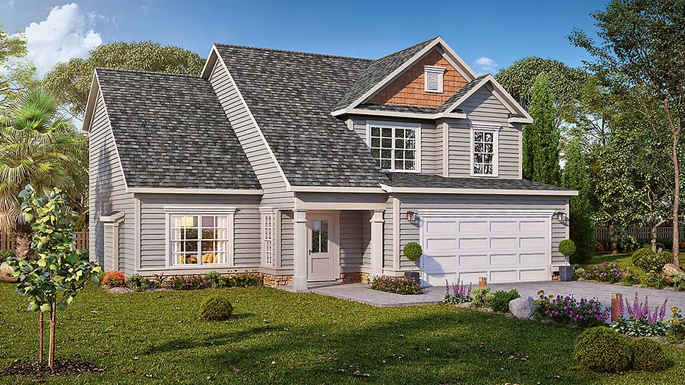 Craftsman, Traditional House Plan 60040 with 4 Beds, 3 Baths, 2 Car Garage Elevation