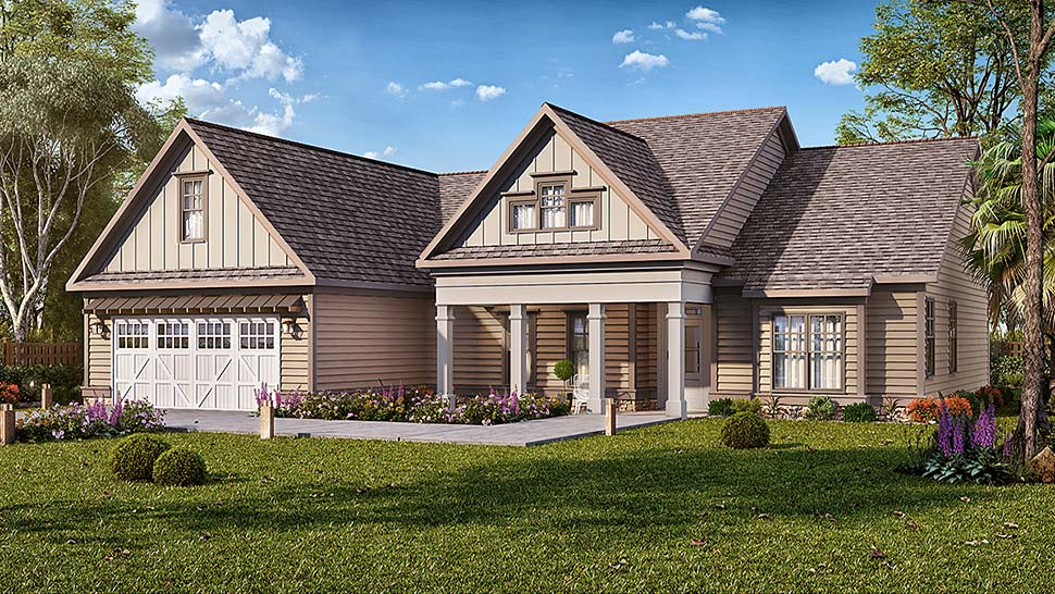 Craftsman , Southern , Traditional House Plan 60041 with 3 Beds, 2 Baths, 2 Car Garage Elevation