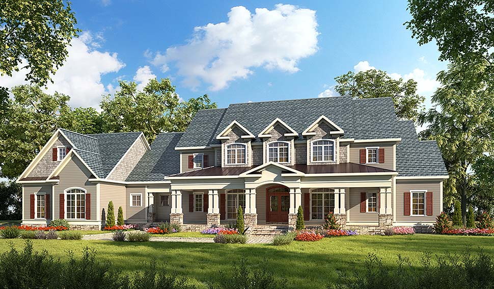 Country, Craftsman, Southern, Traditional House Plan 60042 with 4 Beds, 5 Baths, 3 Car Garage Elevation