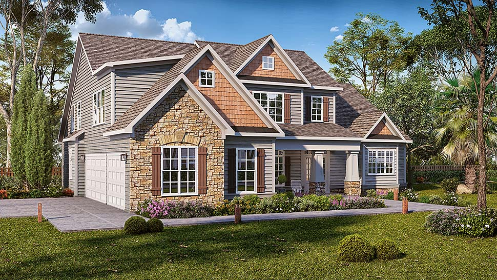 Cottage Craftsman Traditional Elevation of Plan 60046