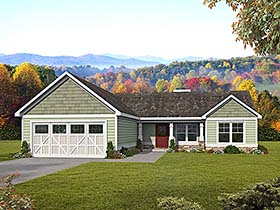 Craftsman , Ranch , Traditional House Plan 60047 with 3 Beds, 2 Baths, 2 Car Garage Elevation