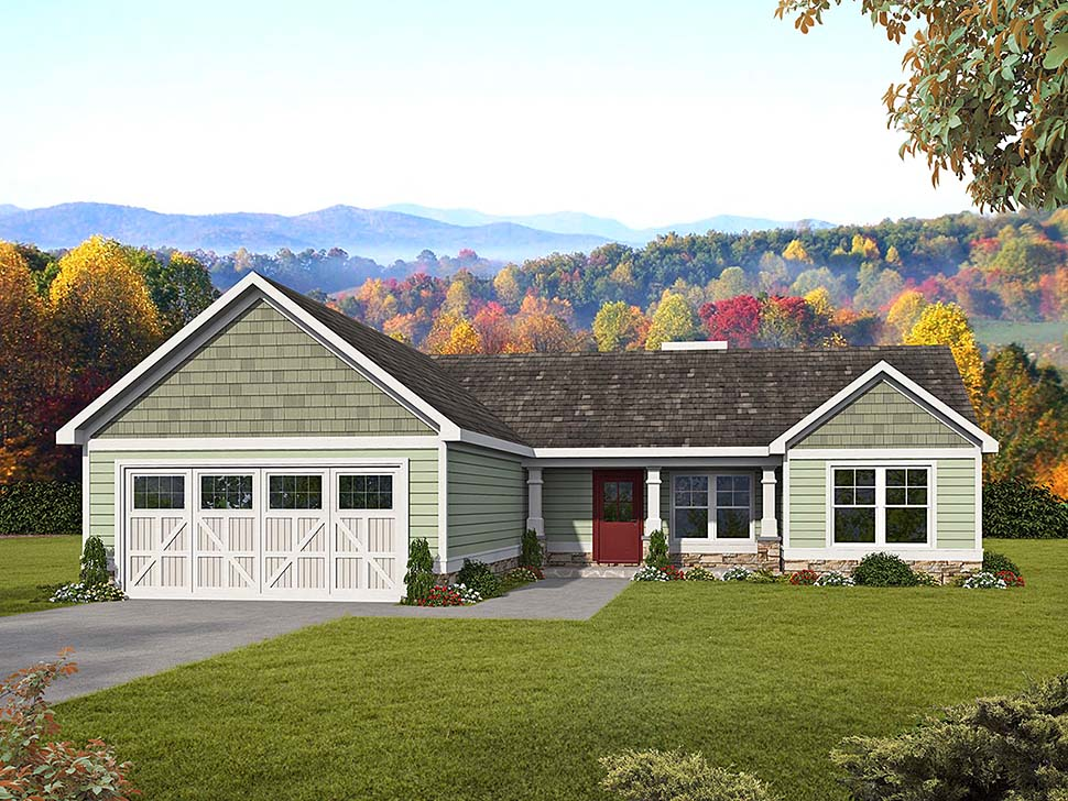 Craftsman, Ranch, Traditional House Plan 60047 with 3 Beds, 2 Baths, 2 Car Garage Front Elevation