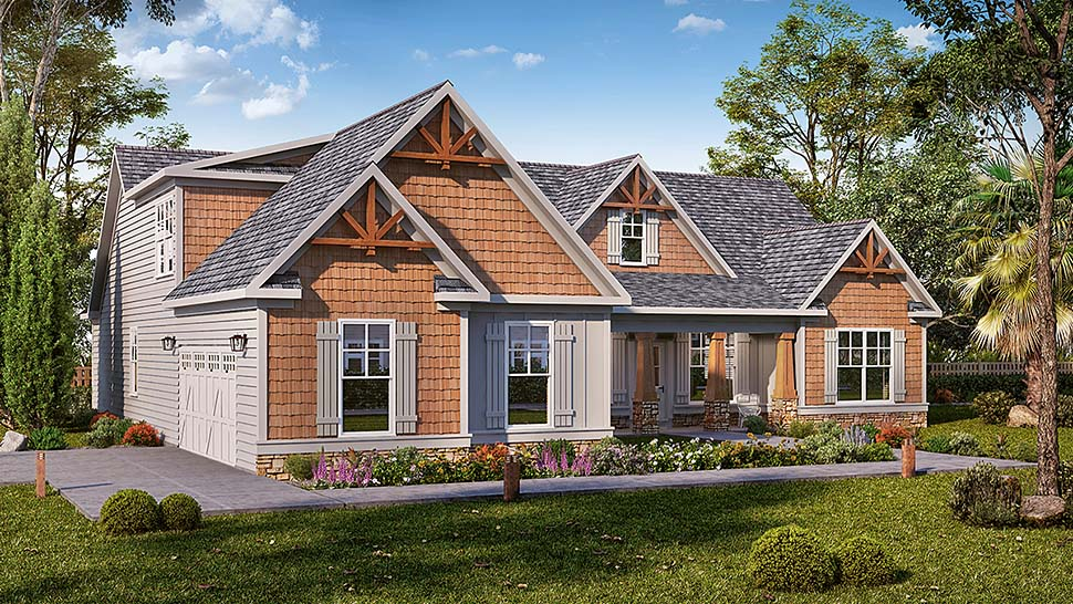 Craftsman , Cottage , Bungalow House Plan 60049 with 3 Beds, 3 Baths, 2 Car Garage Elevation