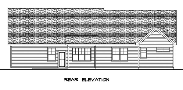 Craftsman , Cottage , Bungalow House Plan 60049 with 3 Beds, 3 Baths, 2 Car Garage Rear Elevation
