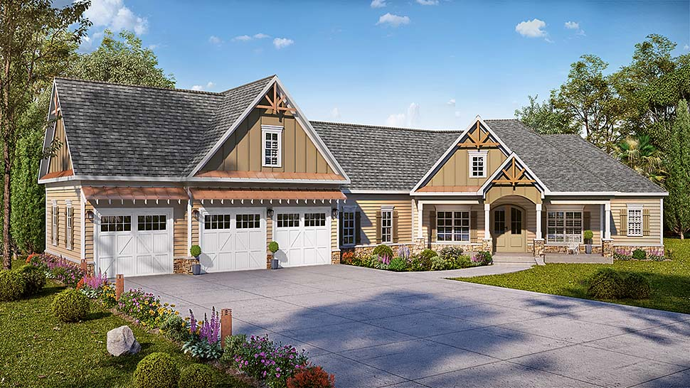 Country , Craftsman , Traditional , Elevation of Plan 60054