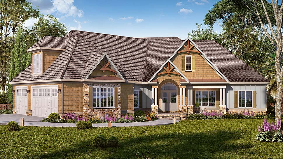 Craftsman , Traditional House Plan 60055 with 4 Beds, 4 Baths, 3 Car Garage Elevation