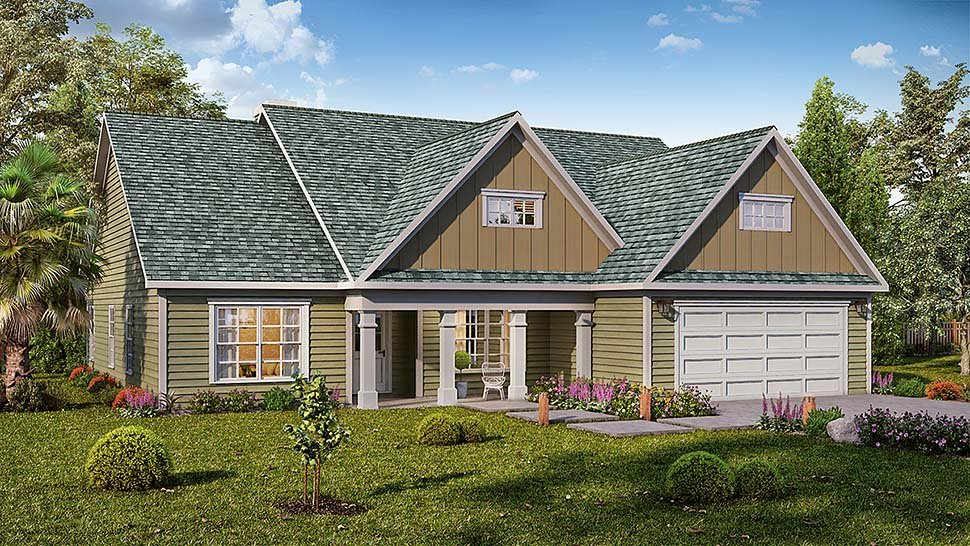 Traditional , Craftsman House Plan 60058 with 3 Beds, 2 Baths, 2 Car Garage Elevation