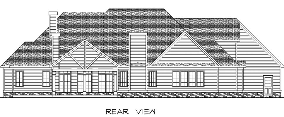 Country Craftsman Traditional House Plan 60063 Rear Elevation