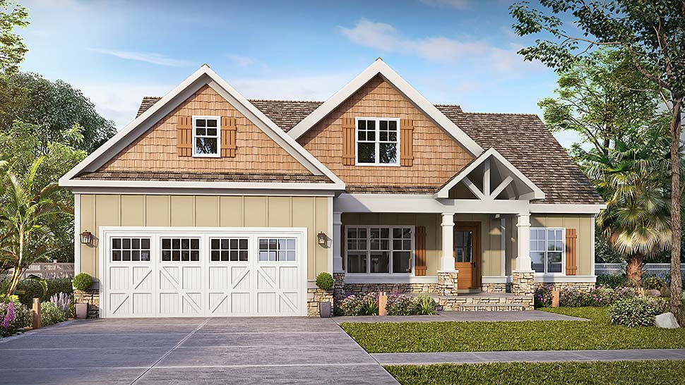 Craftsman, Traditional House Plan 60067 with 3 Beds, 3 Baths, 2 Car Garage Front Elevation
