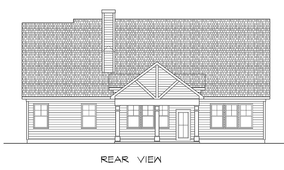 Craftsman Traditional House Plan 60067 Rear Elevation